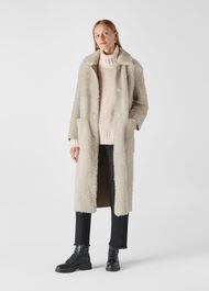 Erika Shearling Coat Ivory/Multi