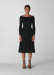 Sparkle Pleated Skirt Black