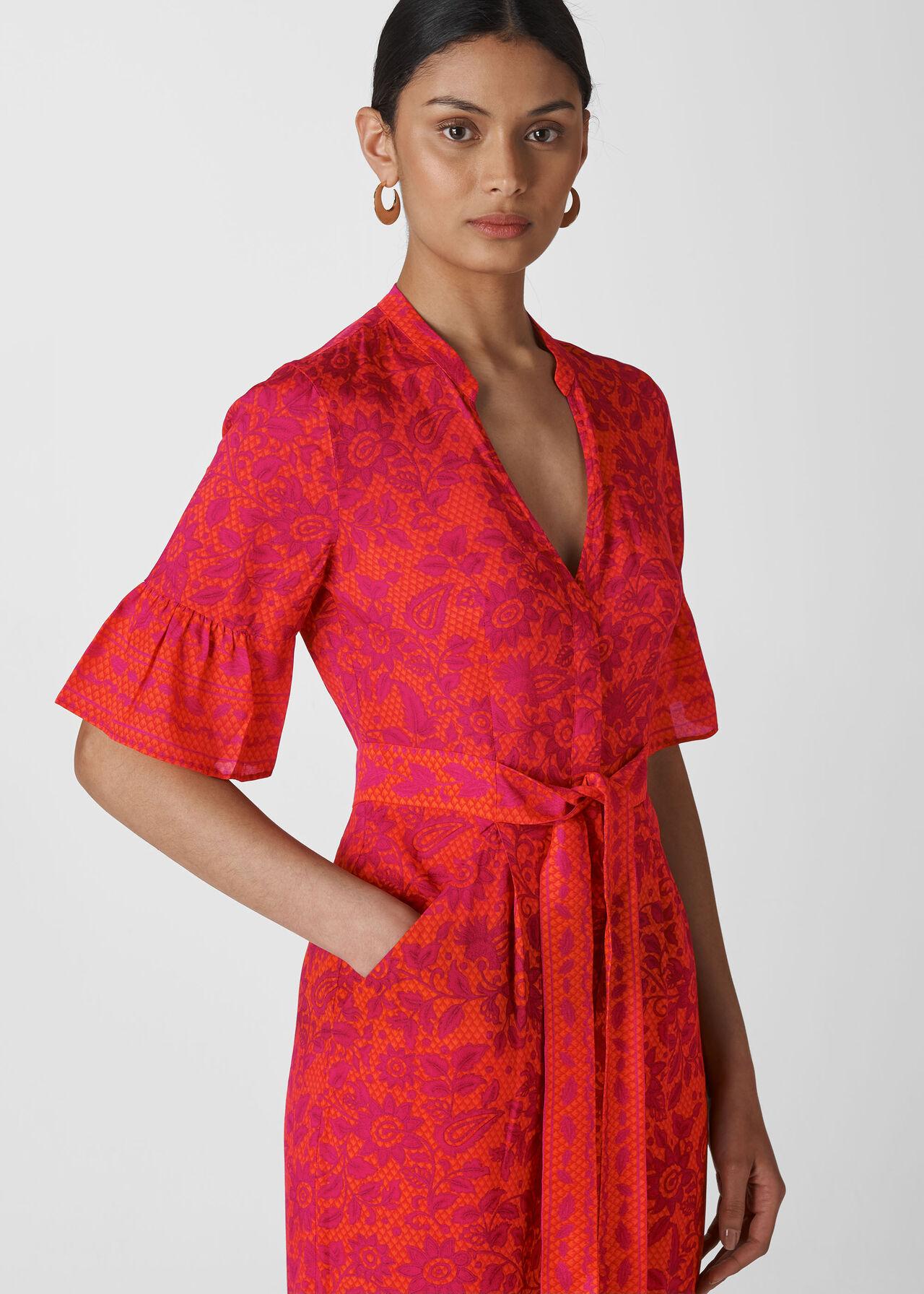 Henna Print Tie Front Jumpsuit Pink/Multi