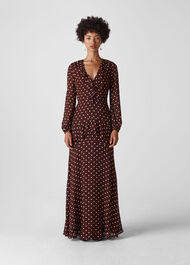 Desiree Spot Frill Maxi Dress