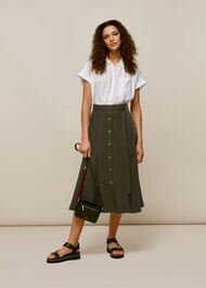 Marissa Button Through Skirt Khaki