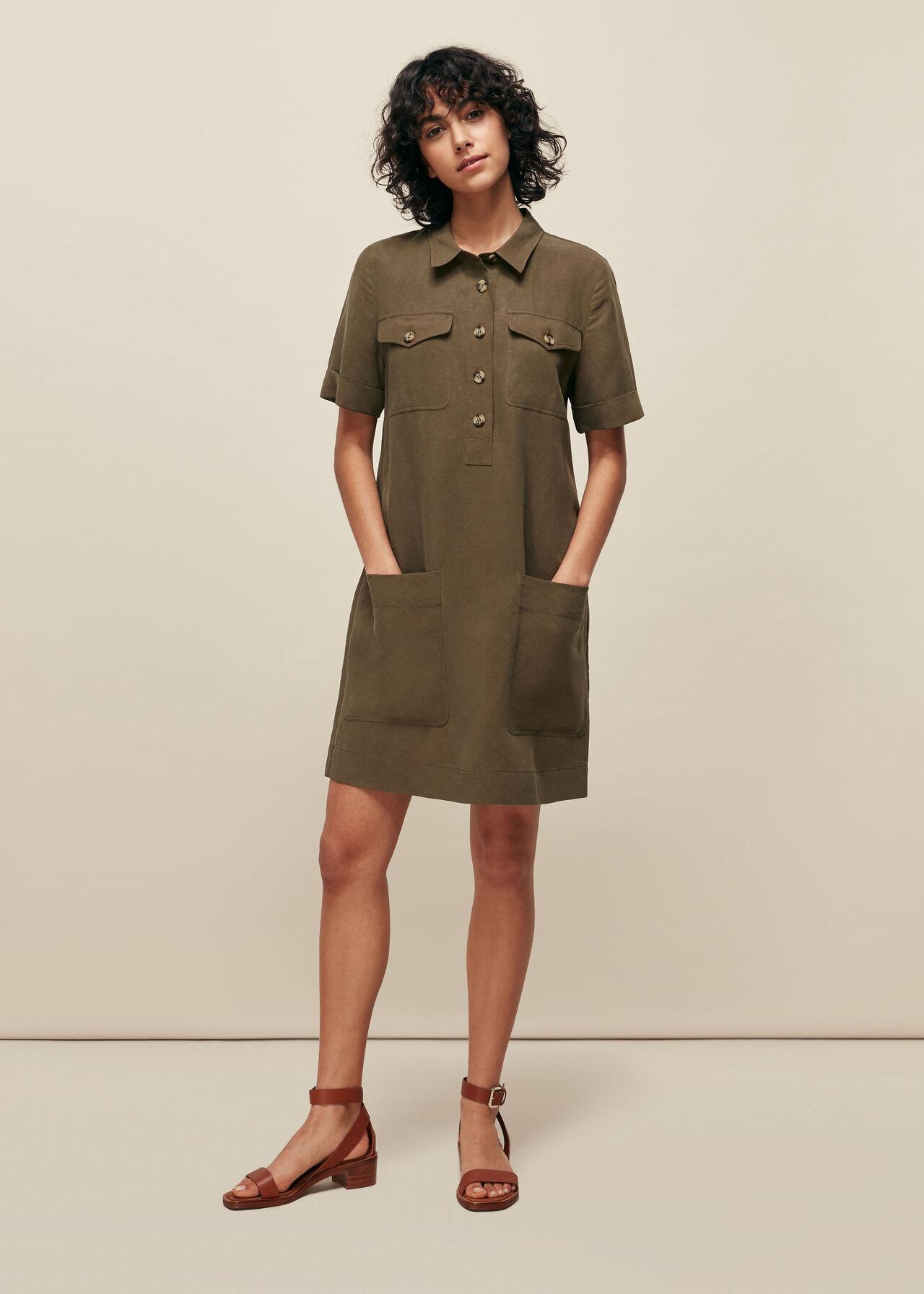 Pocket Detail Linen Mix Dress Khaki