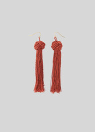Large Tassel Earring Rust