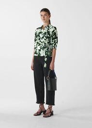 Palm Leaf Print Silk Shirt Green/Multi