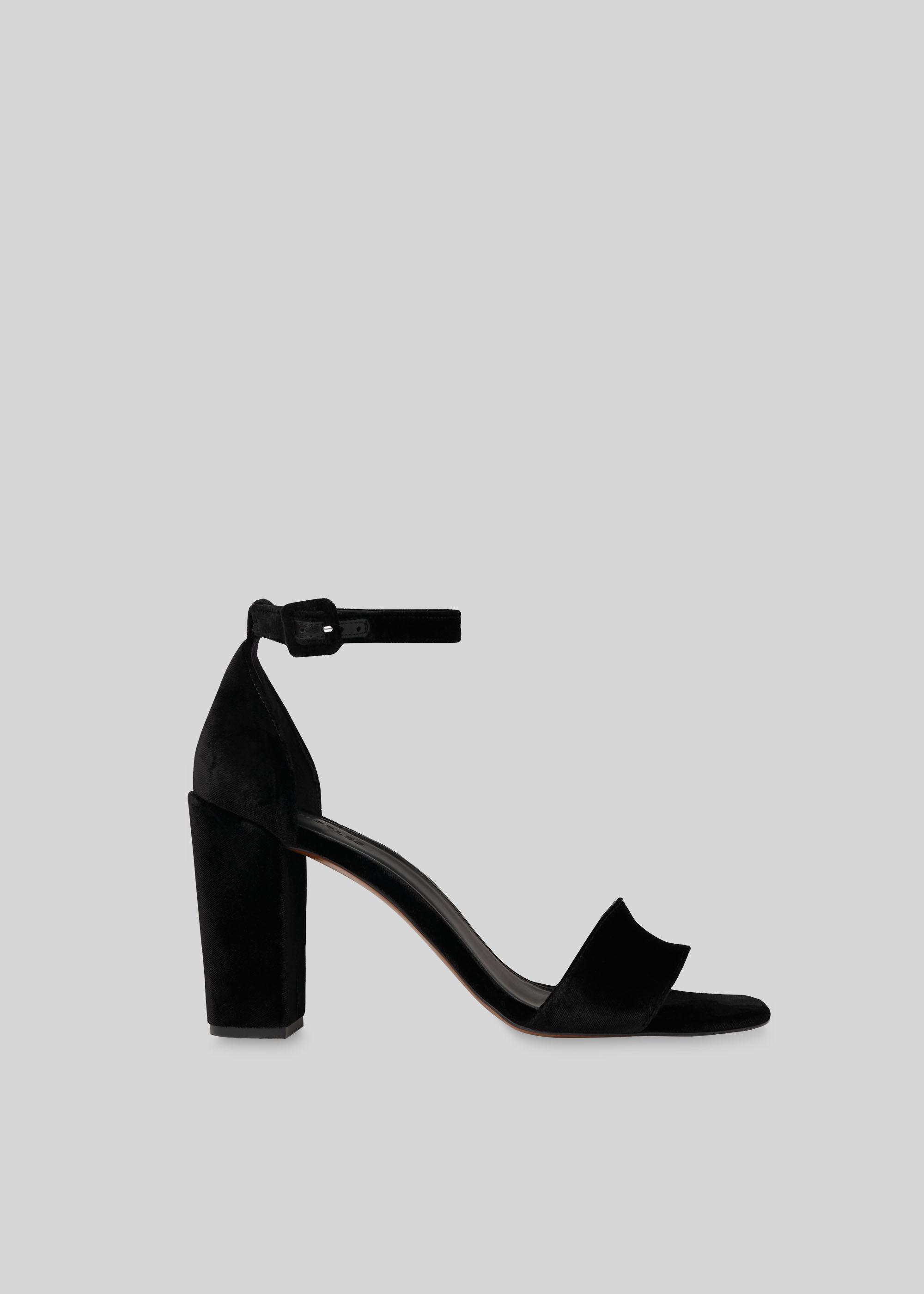 black velvet block heel sandals