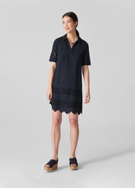 Broderie Shirt Dress Navy