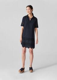 Broderie Shirt Dress Navy