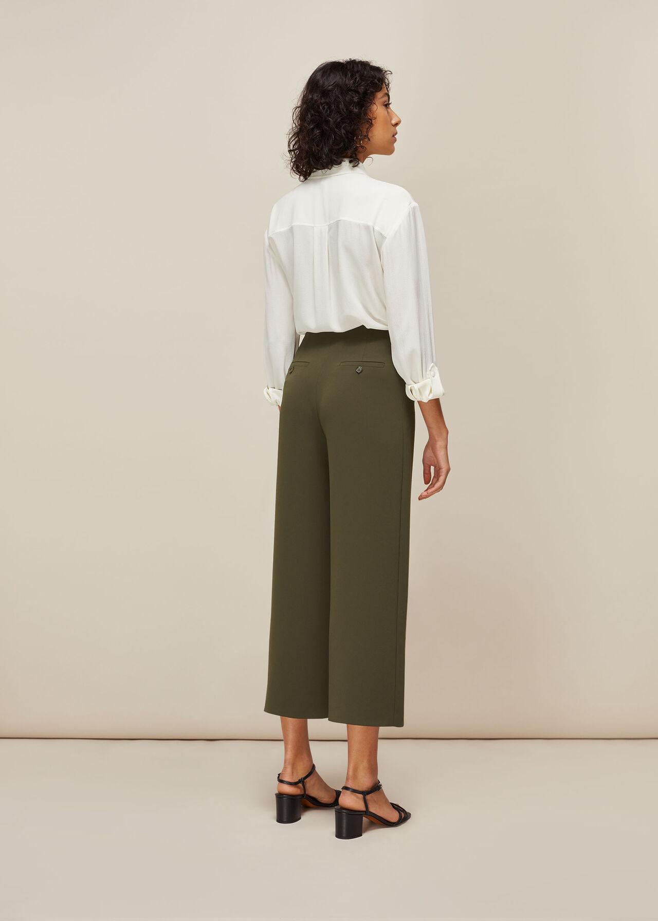 Flat Front Crop Trouser Khaki