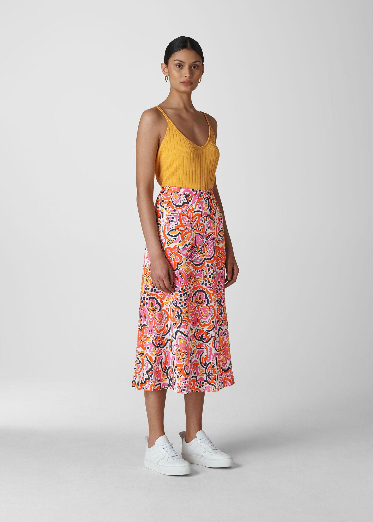 Art Floral Print Skirt