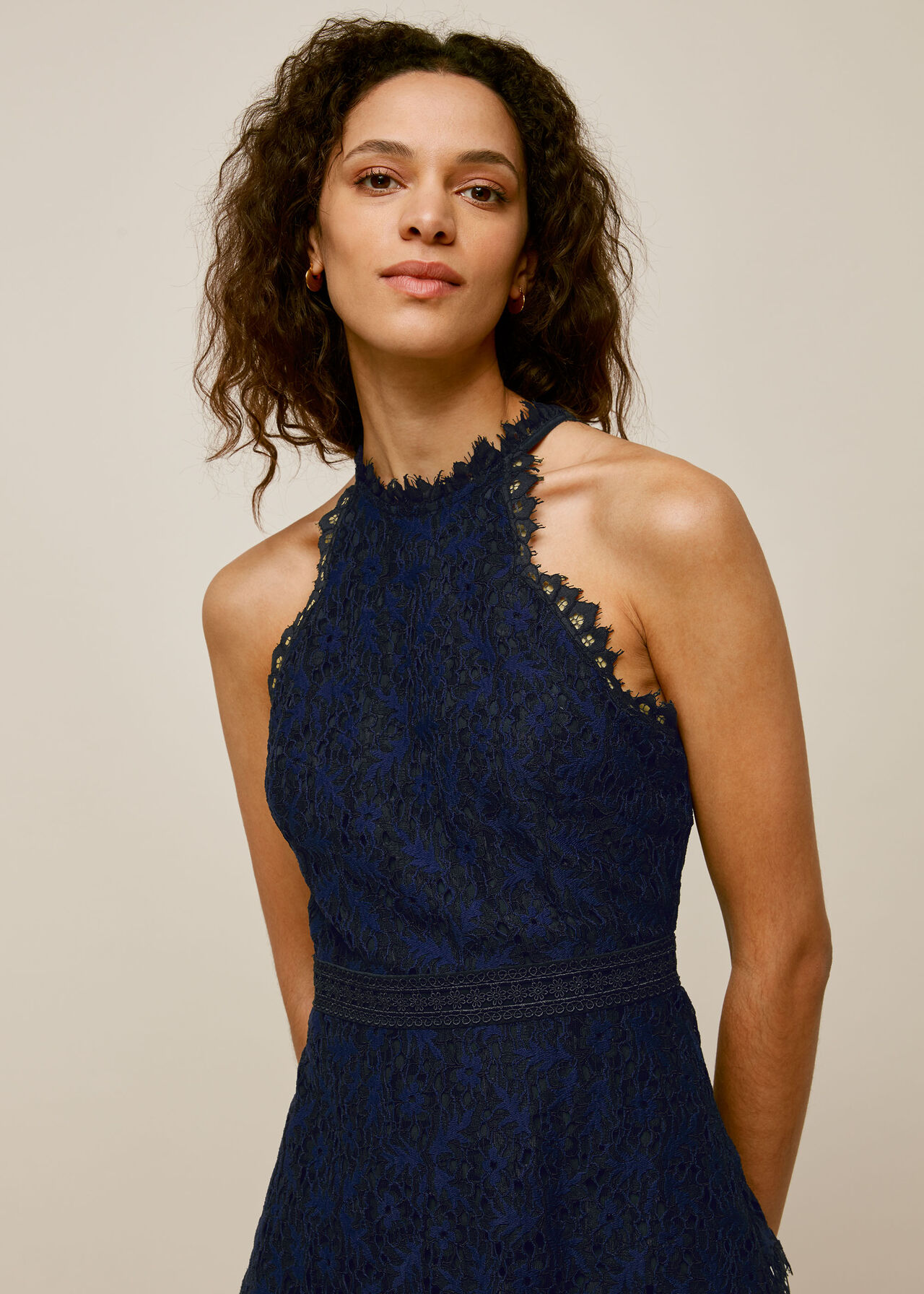 Halter Neck Talie Lace Dress Black