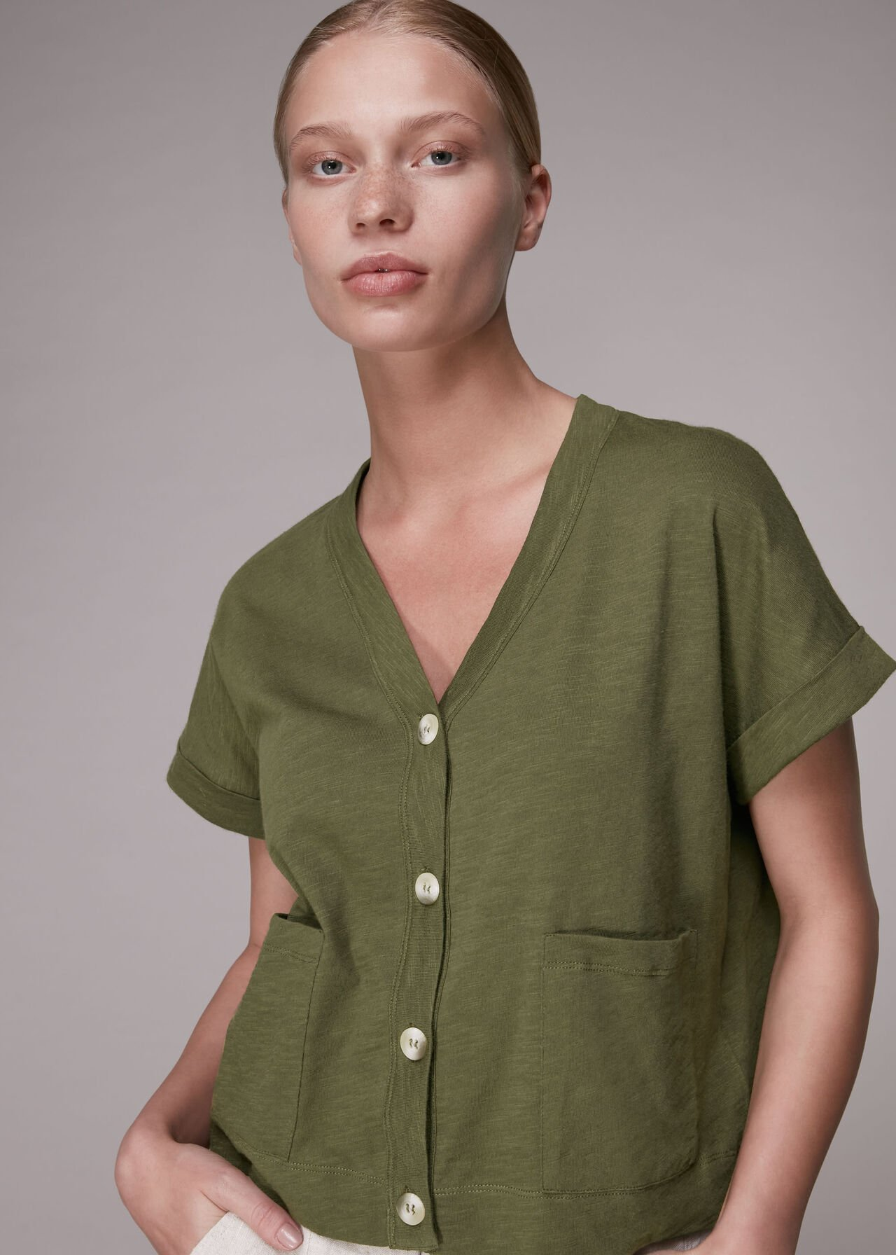 Jersey Button Through TShirt