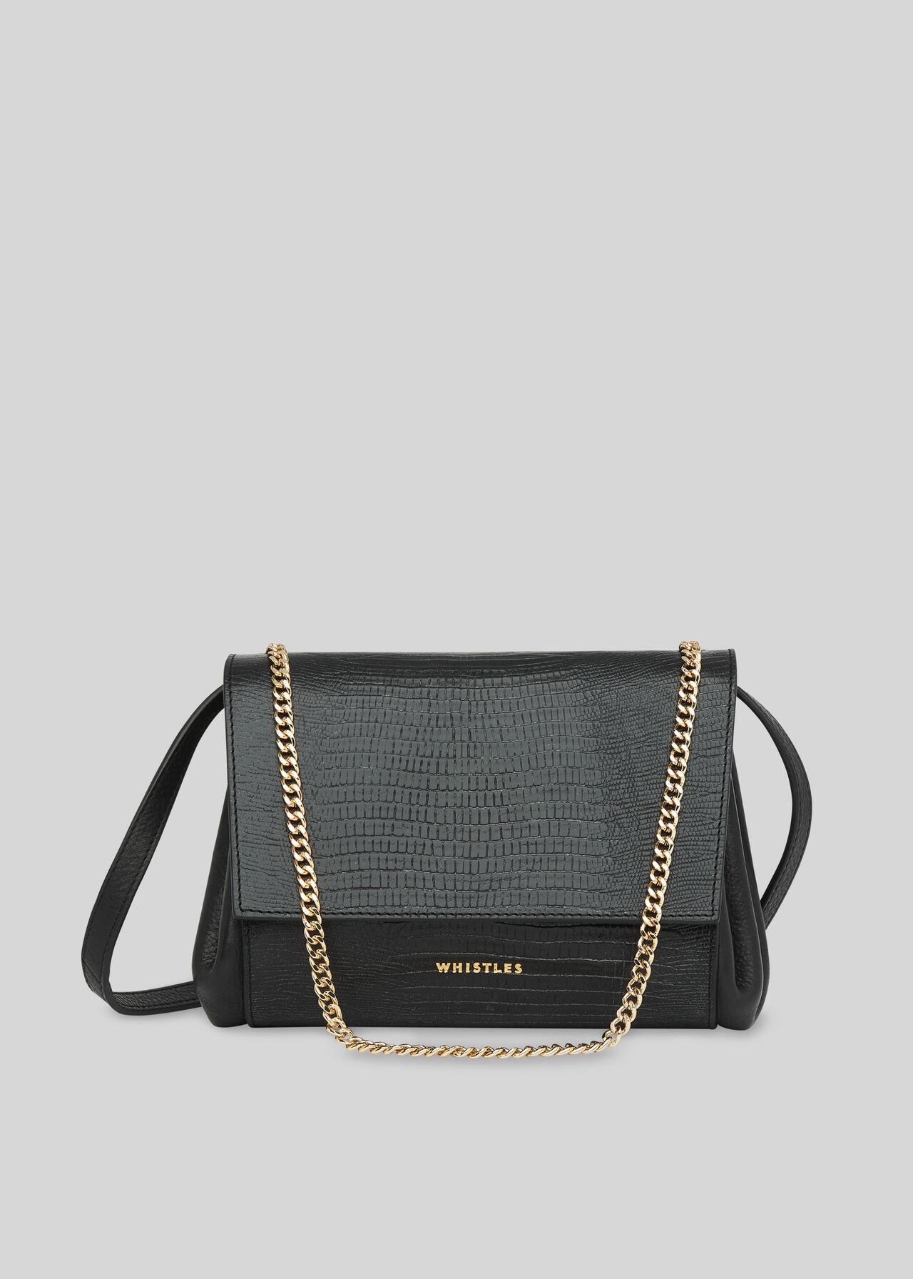 Eleni Lizard Crossbody Bag Black