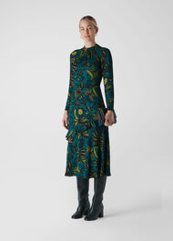 Assorted Leaves Dress Green/Multi