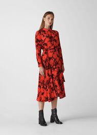 Esme Wrap Print Dress Red/Multi