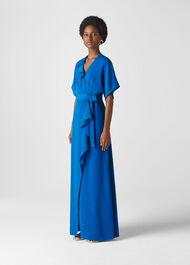 Nova Frill Wrap Maxi Dress Blue
