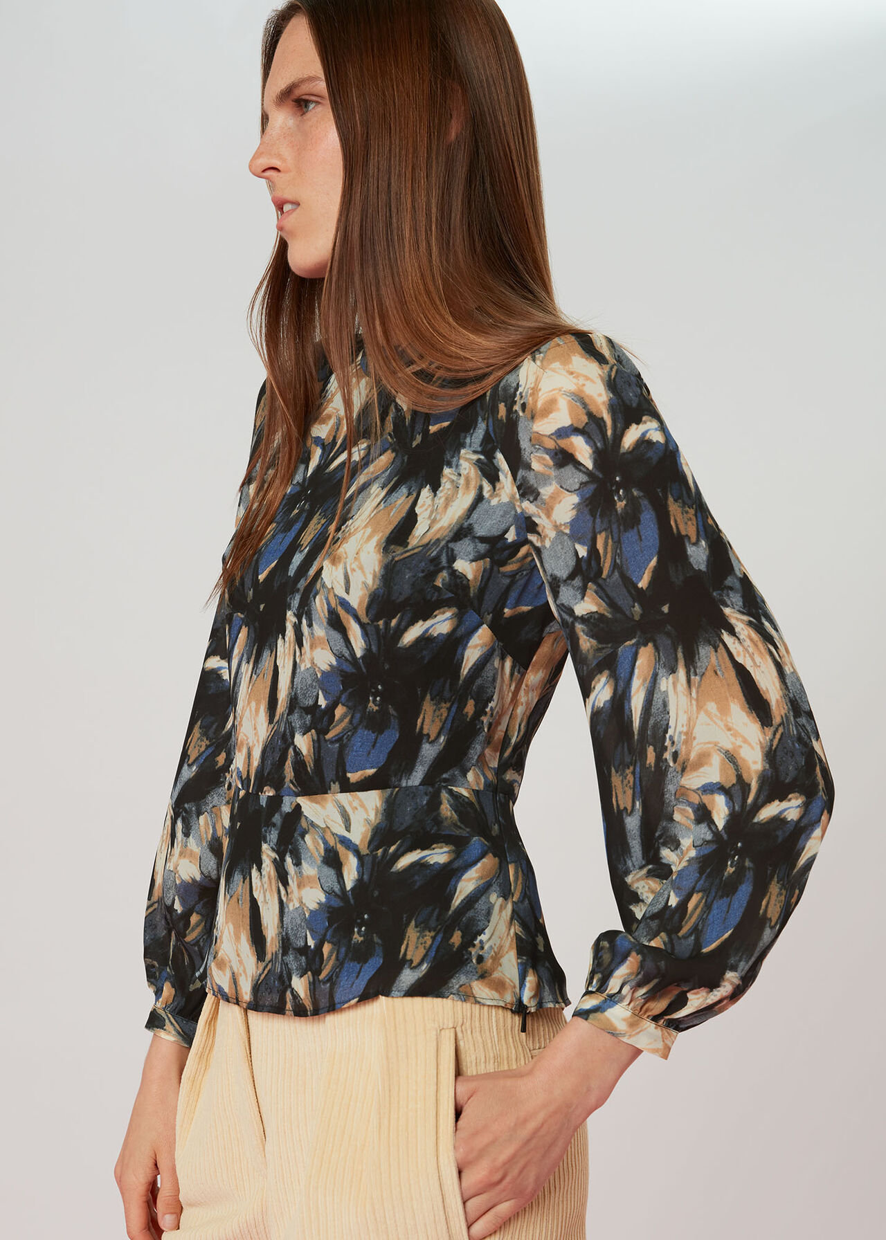 Storm Floral Silk Blouse
