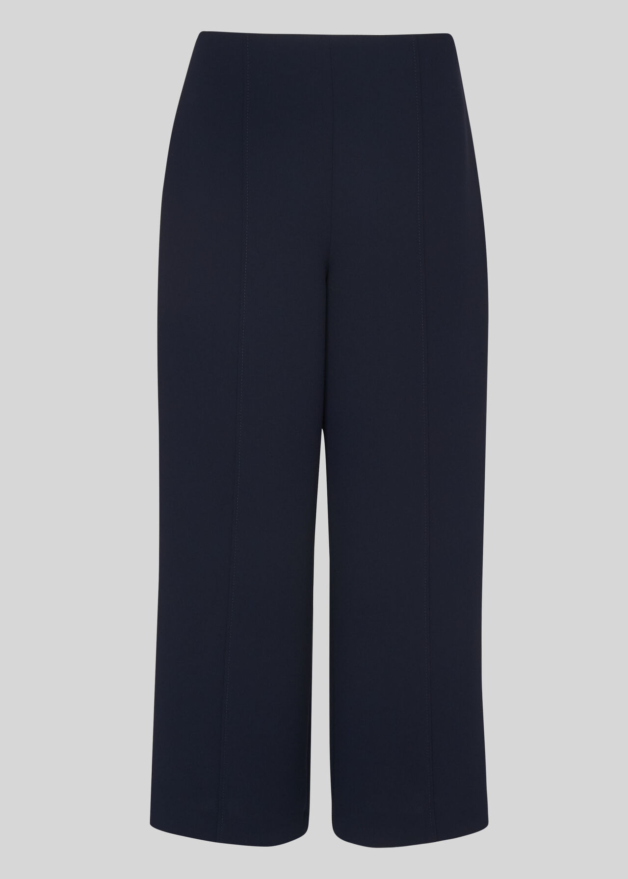 Flat Front Crop Trouser Navy