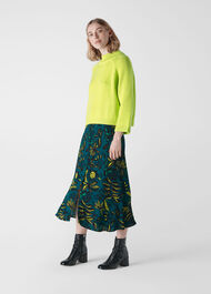 Assorted Leaves Print Skirt Green/Multi