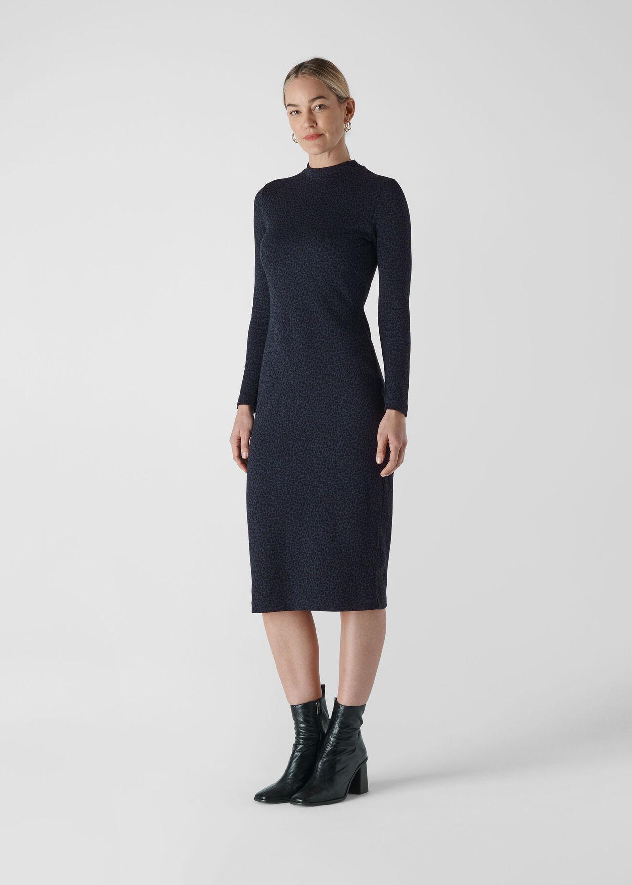 Animal Jacquard Jersey Dress Navy/Multi