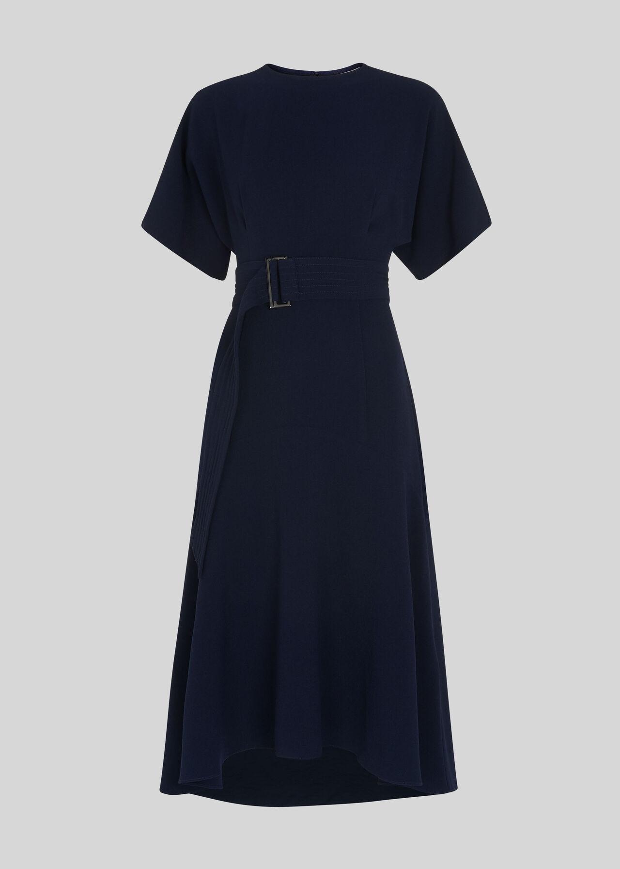 Belted Midi Dress Navy