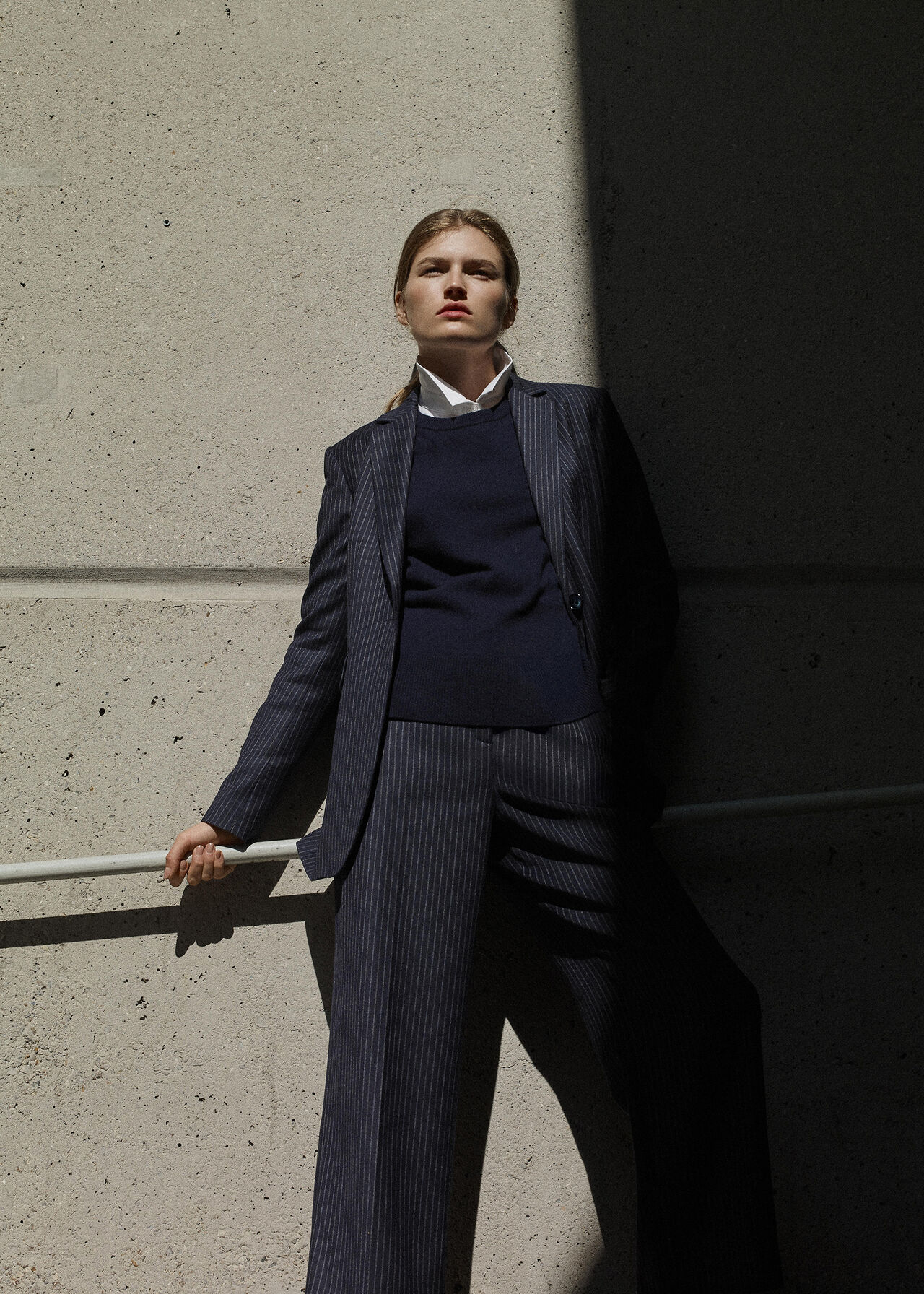 Sonia Pinstripe Trouser Navy/Multi