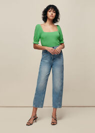 Square Neck Frill Knit Green