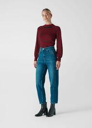 Stripe Blouson Sleeve Knit Multicolour