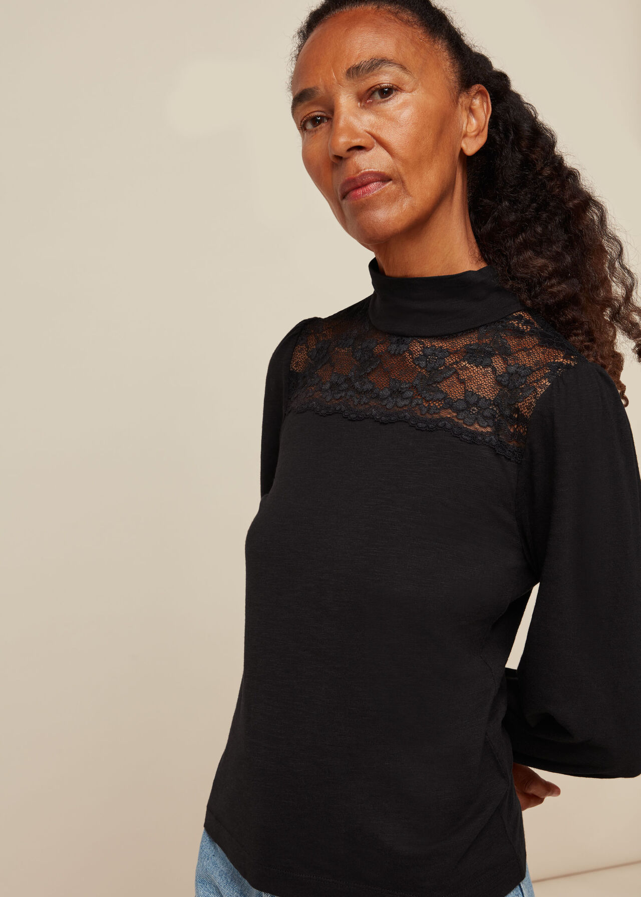 Lace Inserted Top