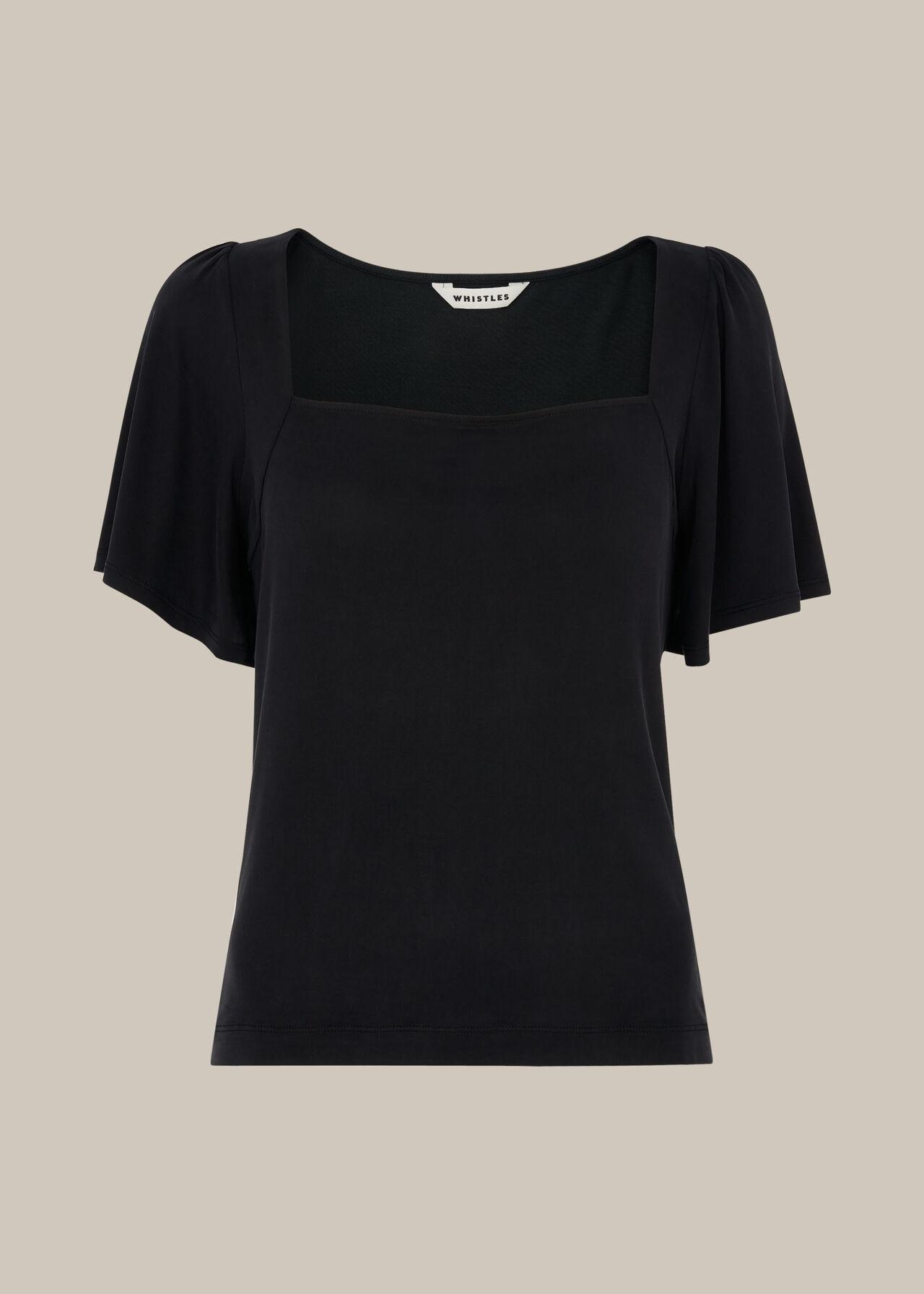 Angel Sleeve Cupro Top Black