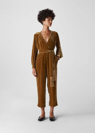Thea Wrap Velvet Jumpsuit Gold