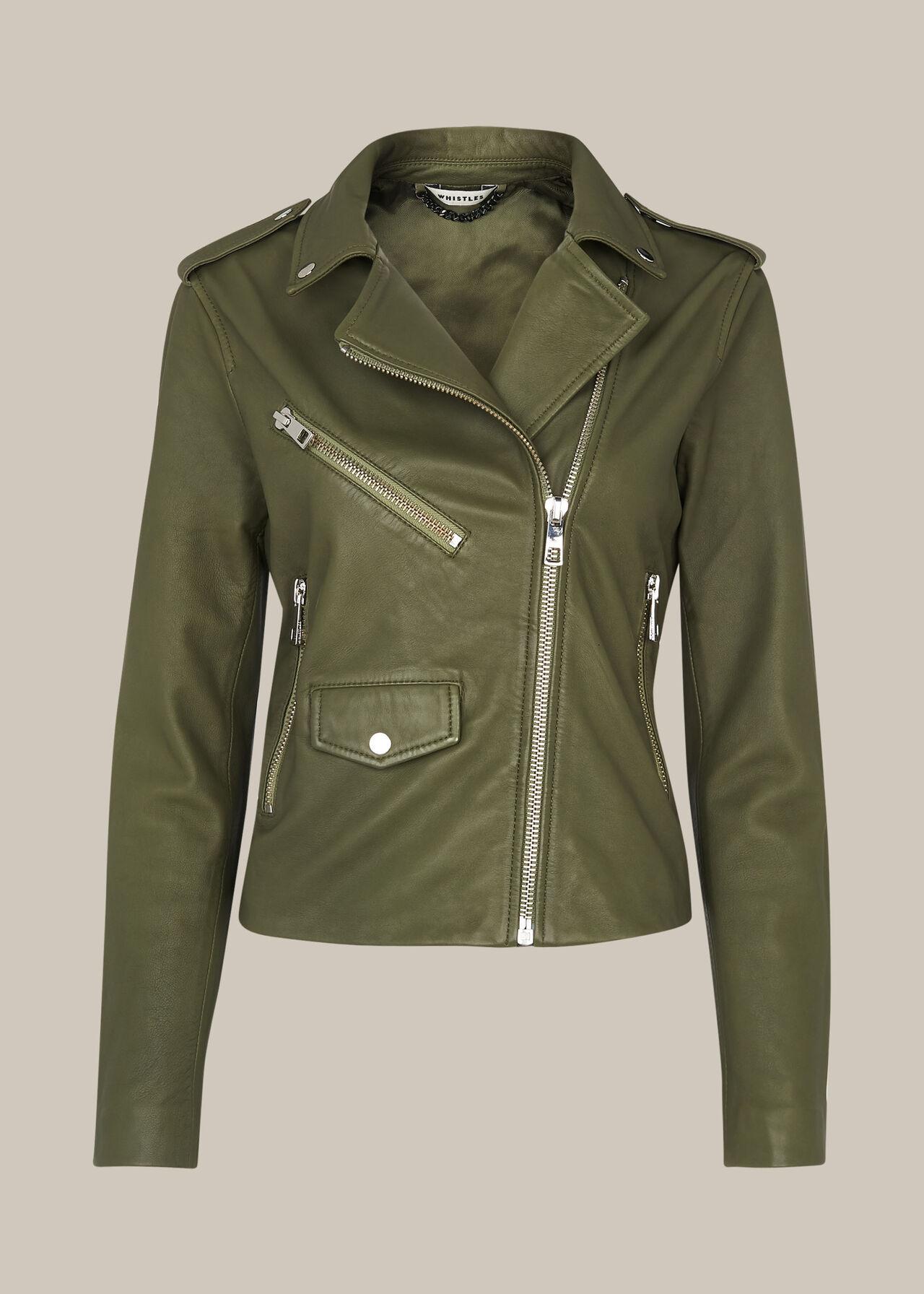 Agnes Pocket Leather Biker Khaki