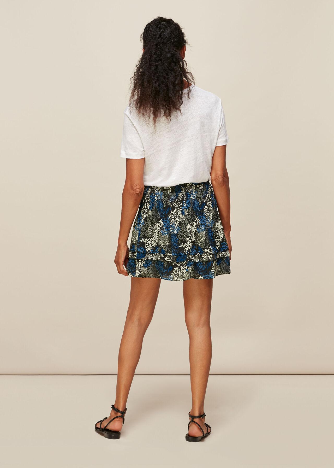 Marble Animal Print Silk Skirt