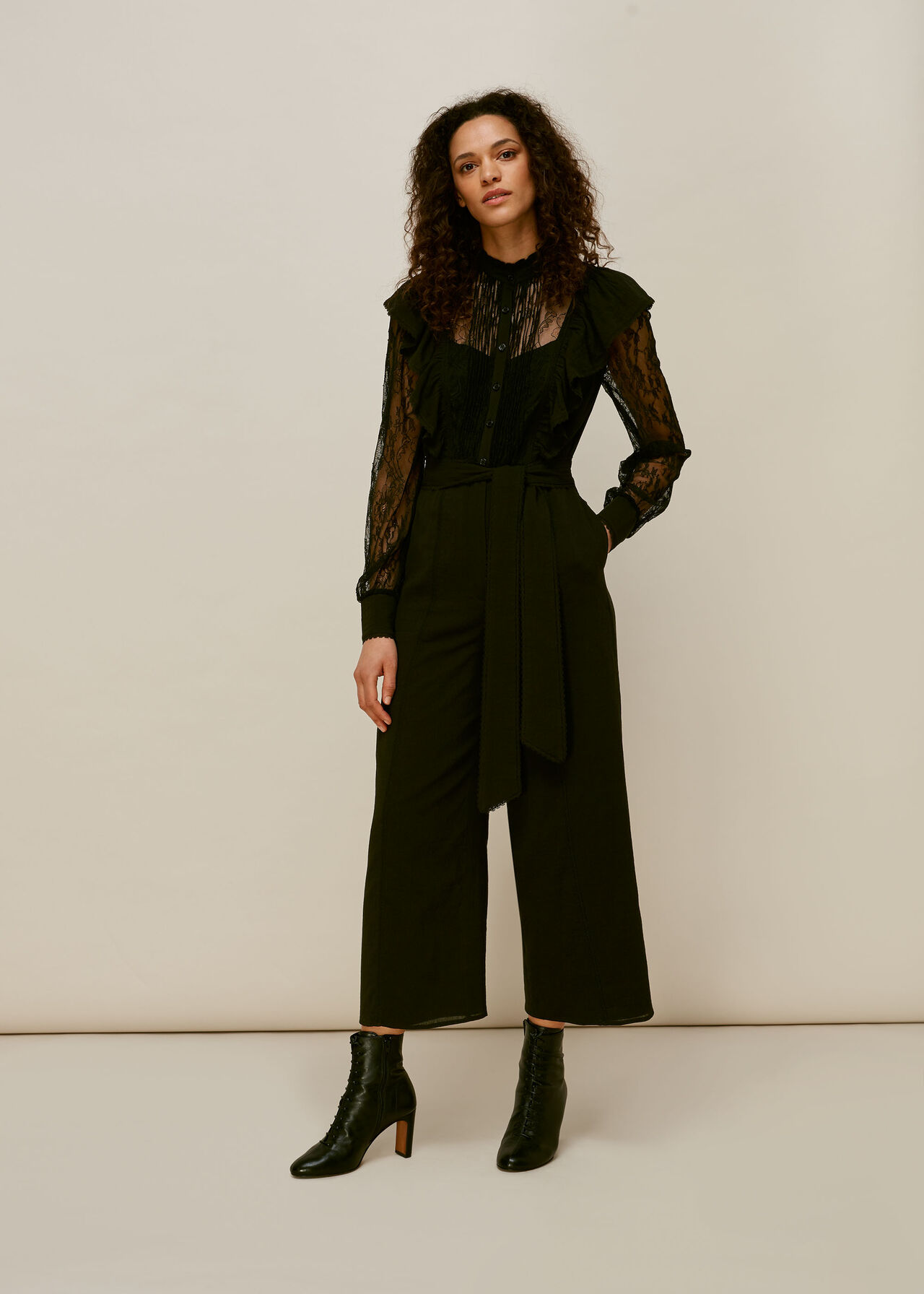 Mixed Lace Frill Jumpsuit Black