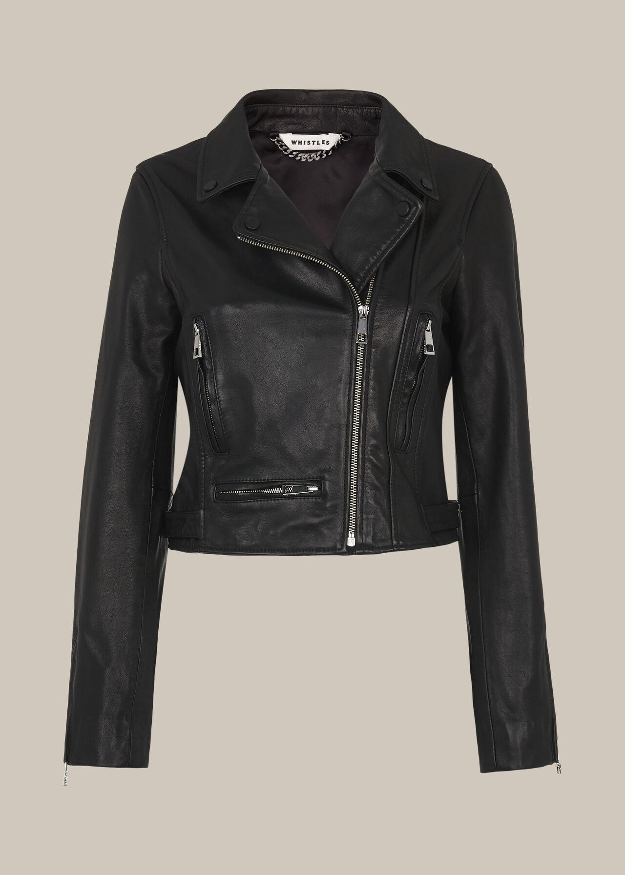 India Cropped Biker Jacket Black
