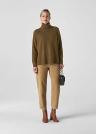Cashmere Roll Neck Sweater Olive