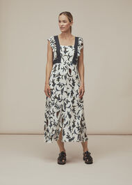 Subrina Printed Silk Dress White/Multi