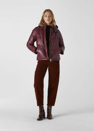 Leather Puffer Jacket Burgundy