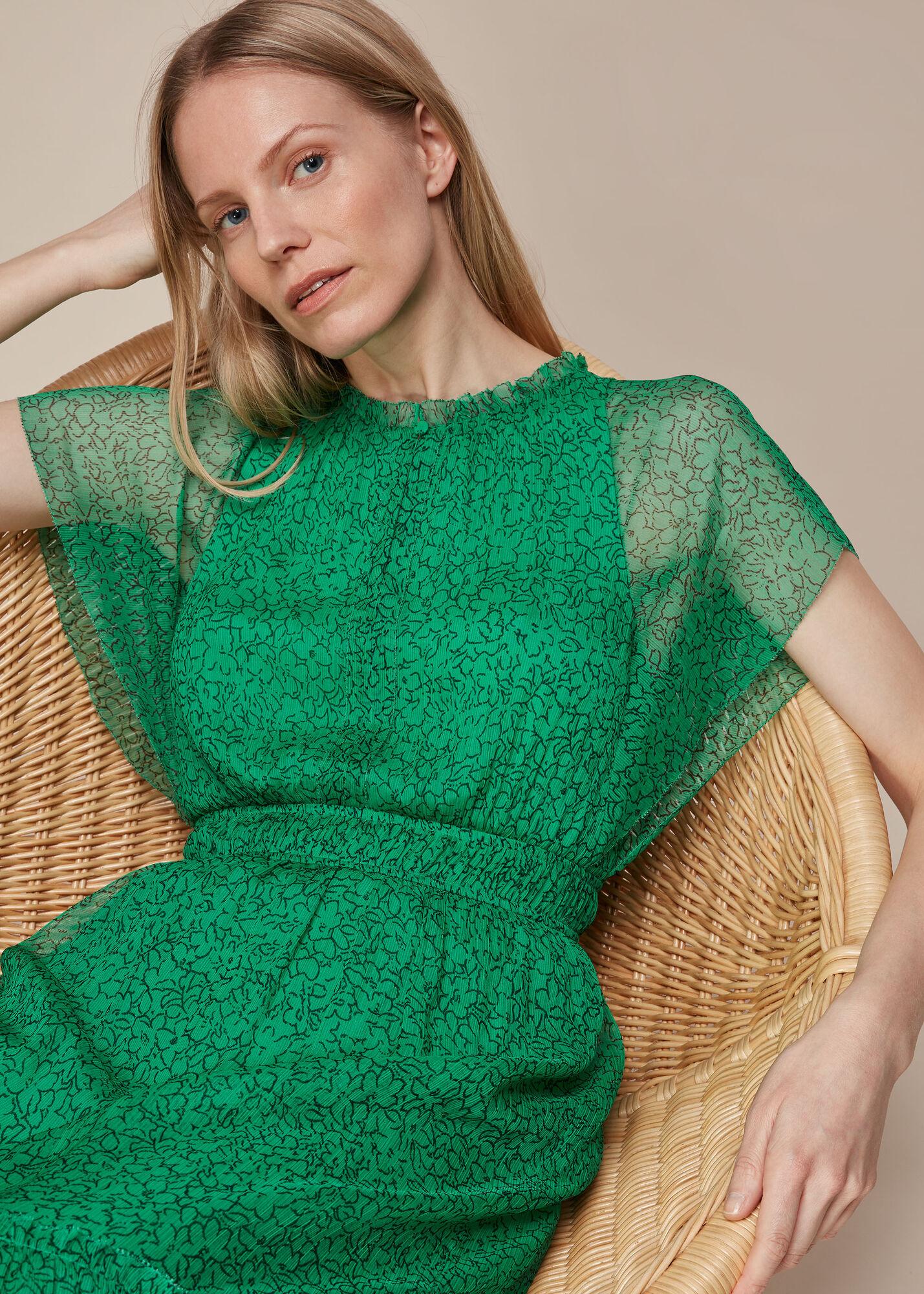Sketched Floral Frill Dress