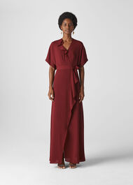 Nova Frill Wrap Maxi Dress Burgundy