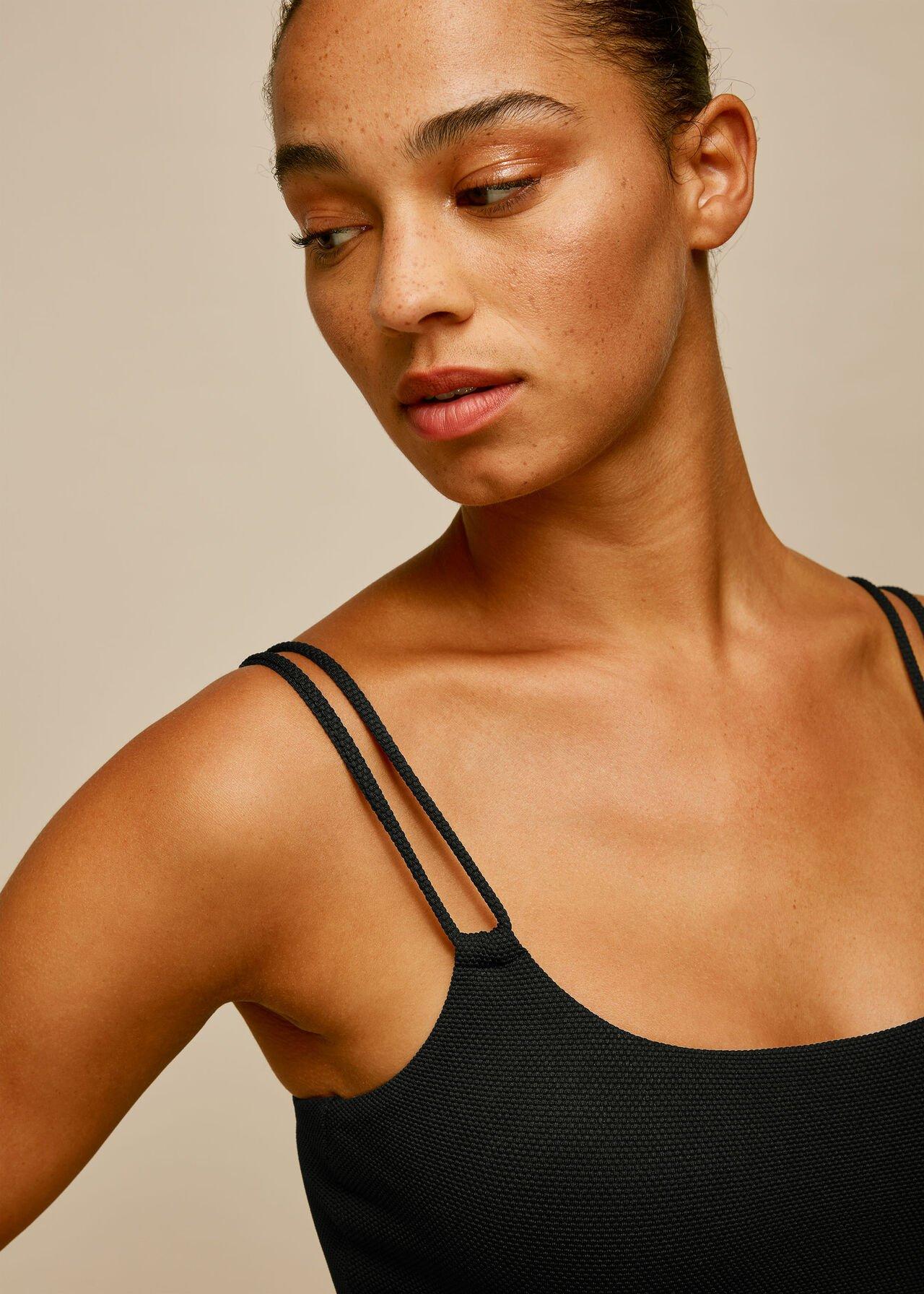 Double Strap Textured Swimsuit Black