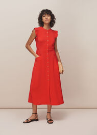 Frill Sleeve Button Dress Red