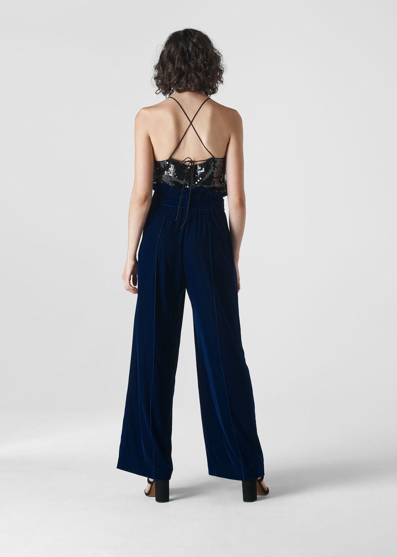 Tie Waist Velvet Trouser Blue