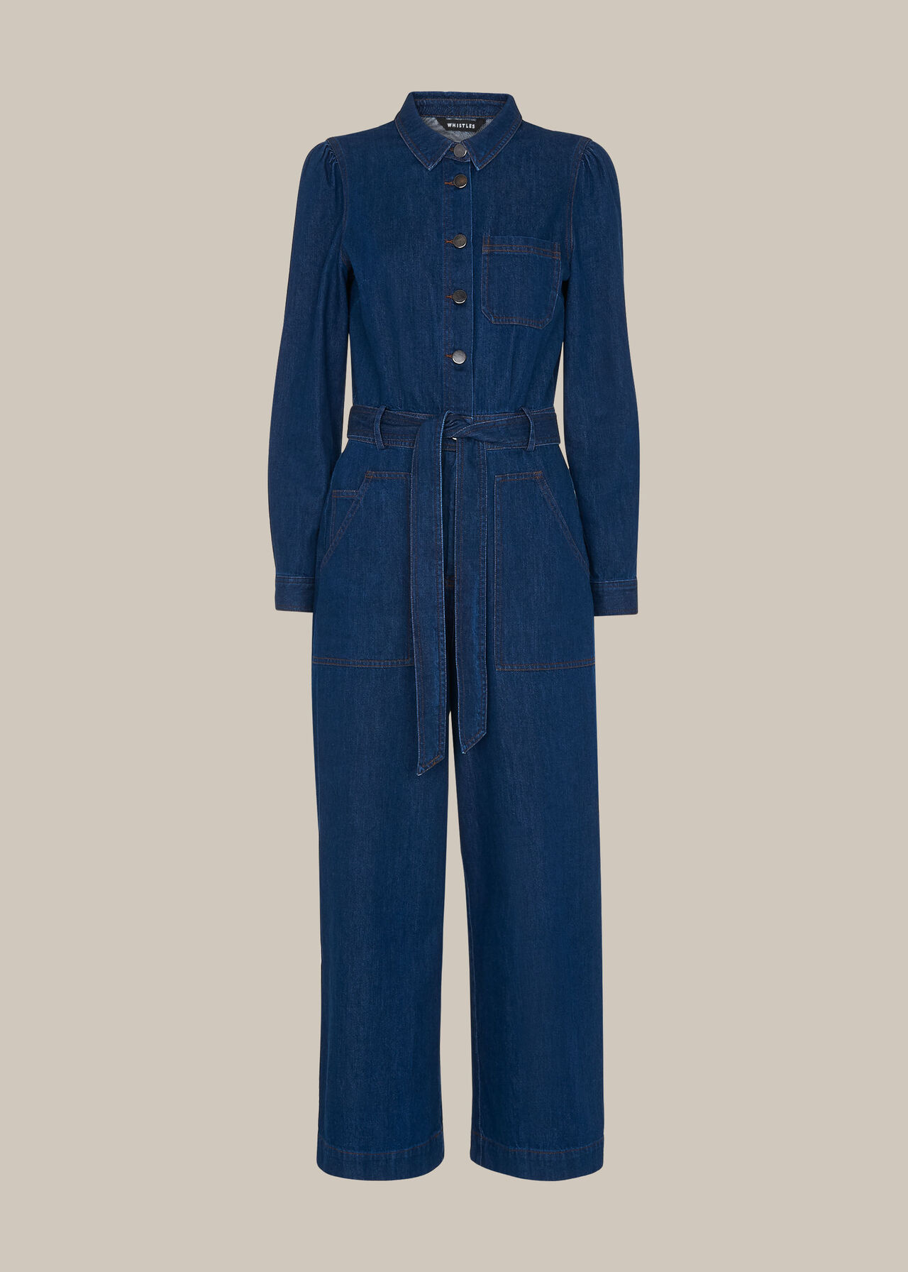 Denim Belted Jumpsuit
