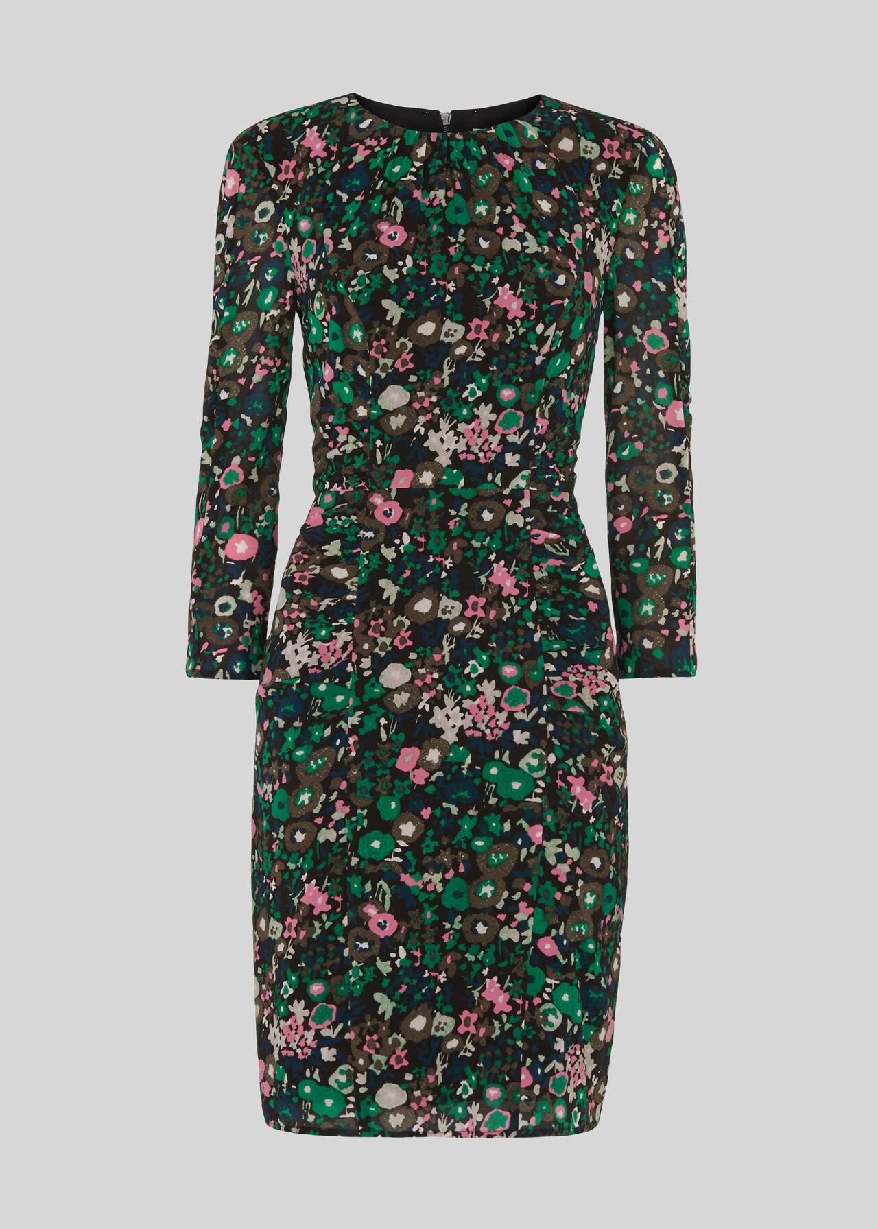 Adelaide Print Silk Bodycon Pink/Multi