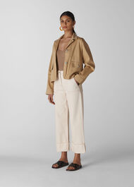 Utility Cropped Jacket Neutral