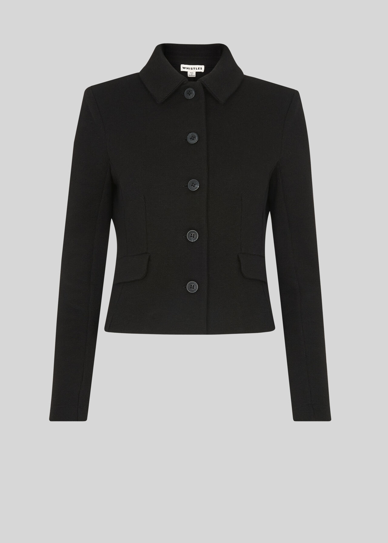 Button Front Jersey Jacket Black