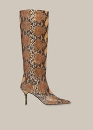 Conna Snake Knee High Boot Brown/Multi