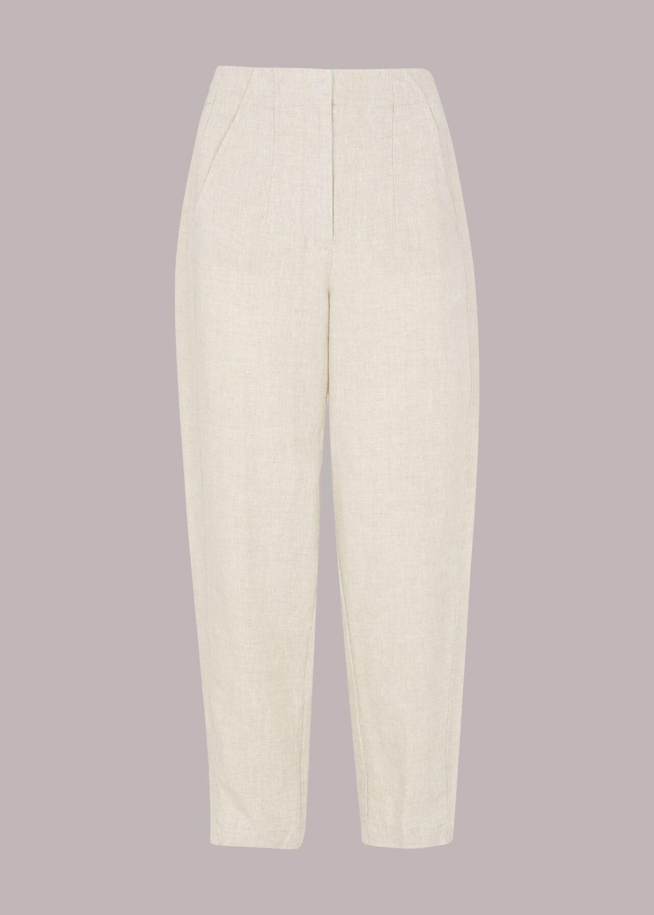 Linen Barrel Leg Trouser