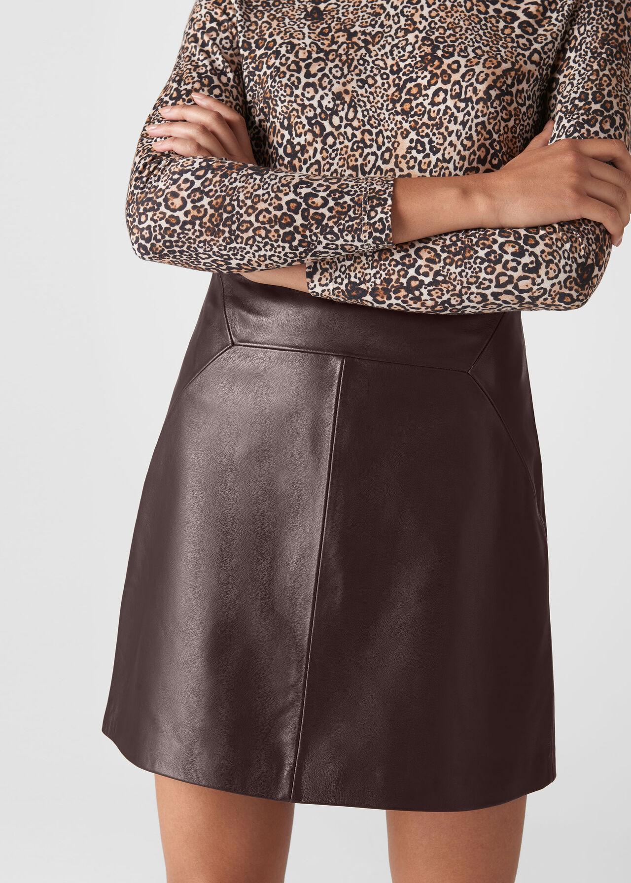 Leather A Line Skirt Burgundy