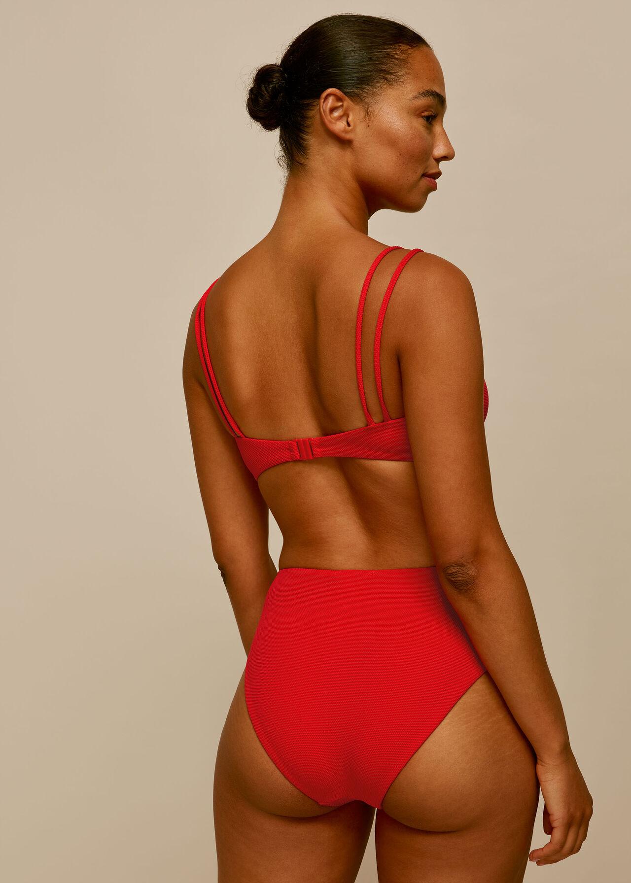 Textured Bikini Bottom Red